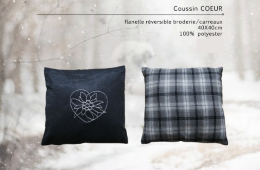 Coussin broderie coeur