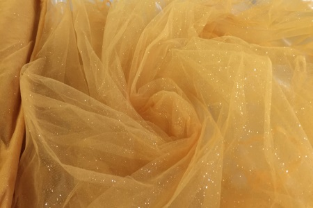 Tulle pailleté or