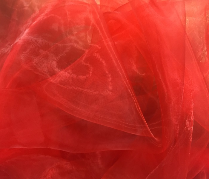 TISSU VOILE RESILLE STRETCH POLYAMIDE ROUGE au METRE